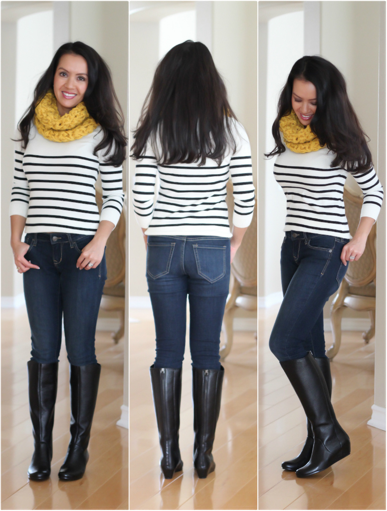 BP Runway Boots, Petite Friendly Riding Boots, Striped Sweater