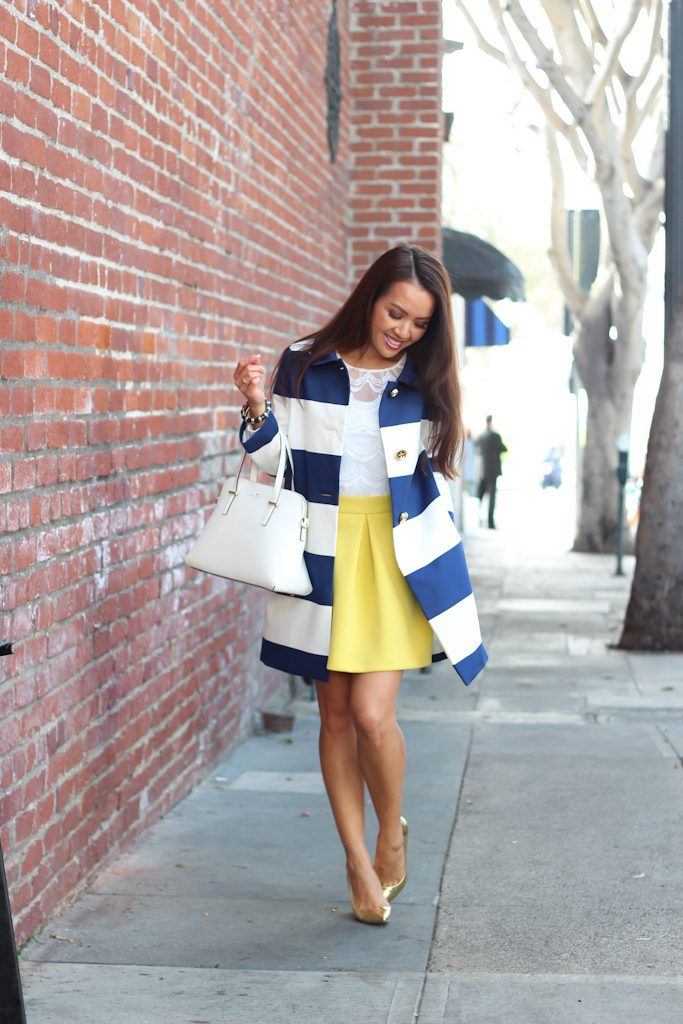 Kate Spade striped franny bow back coat ASOS yellow scuba skirt Jcrew gold metallic everly pumps Forever 21 lace top cedar street maise white purse