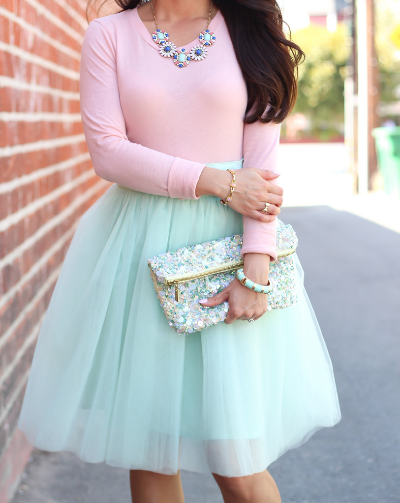 Mint Tulle Skirt and Blush Tee-10