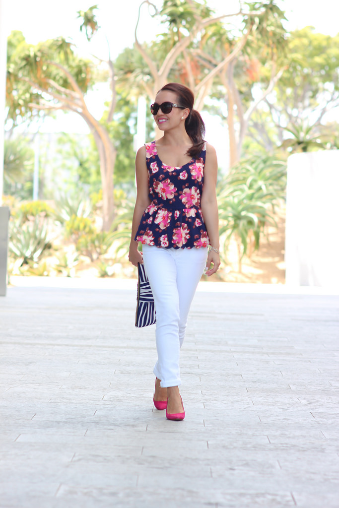 Anthropologie Floral Peplum and White AG Jeans-5