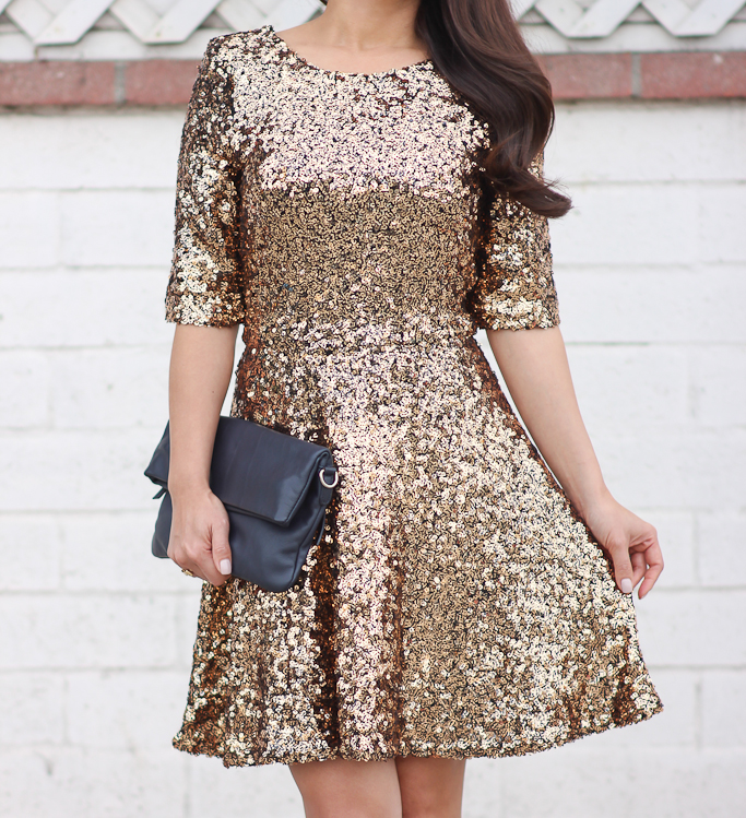 French Connection Ozlem Sequin Fit and Flare Dress ...