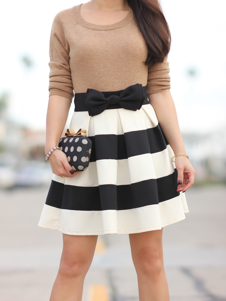 Modcloth Stripe It Lucky Skirt and Bow Topped Polka Dot Jacquard Clutch - Stylish Petite
