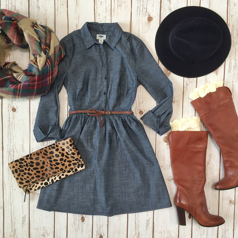 Old Navy chambray dress cognac boots Clare V leopard foldover clutch boot socks plaid blanket scarf