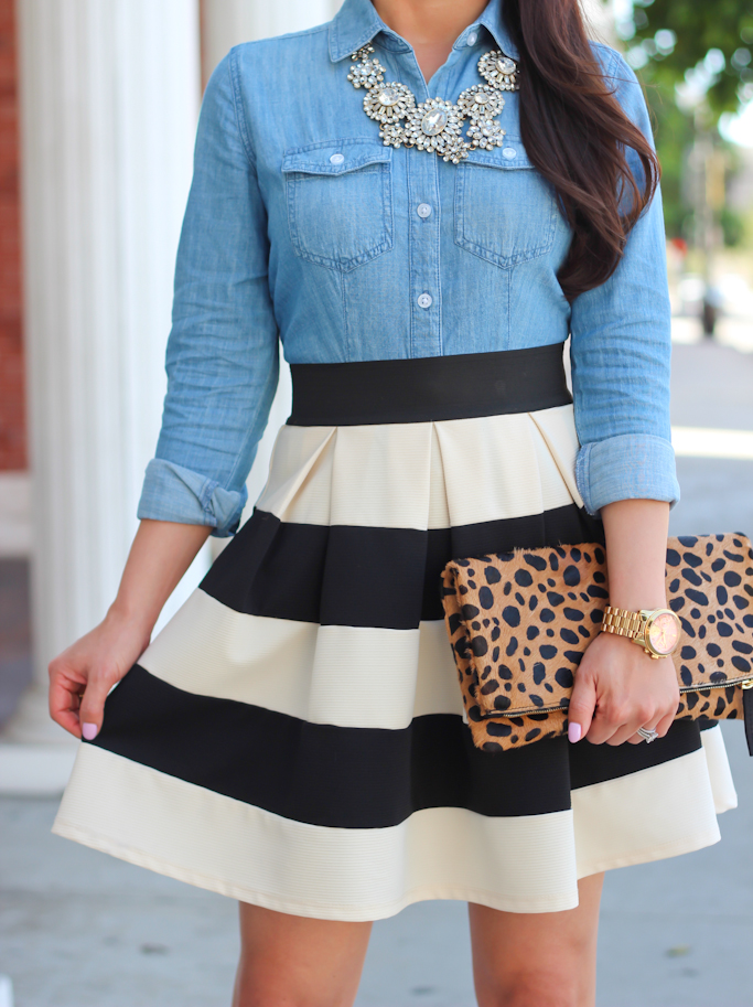 Modcloth stripe it lucky skirt Loft chambray shirt Clare V leopard clutch Kate Spade lottie pumps crystal statement necklace Michael Kors gold watch