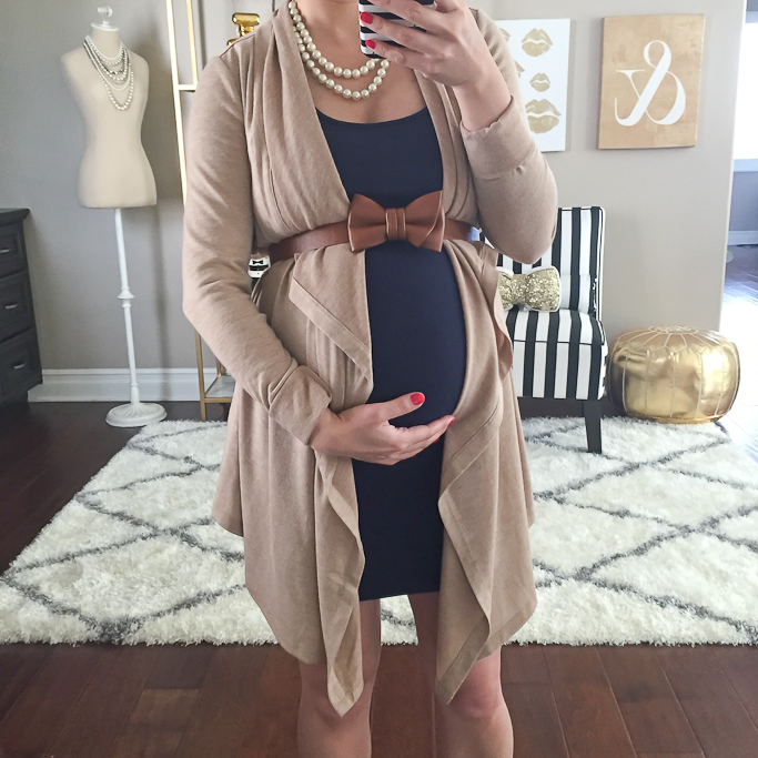 Ann Taylor jersey open cardigan, double strand pearl necklace, Forever 21 body con tank dress, Loft bow belt, pregnancy outfits