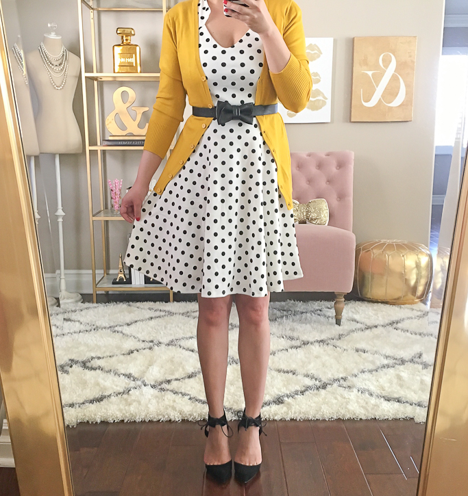 Black Bow leather belt, Gold mirror, Home office decor, Modcloth charter school cardigan in honey, Modcloth THE STORY OF CITRUS DRESS IN WHITE DOT, saks off 5th elin pumps