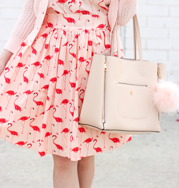 Ann Taylor signature tote, BP luminate blush nude sandals, Chicwish FLAMINGO FUN FLARE PRINT DRESS, Kate Spade bow watch, Maison Jules Three-Quarter-Sleeve Honeycomb-Stitch Cardigan