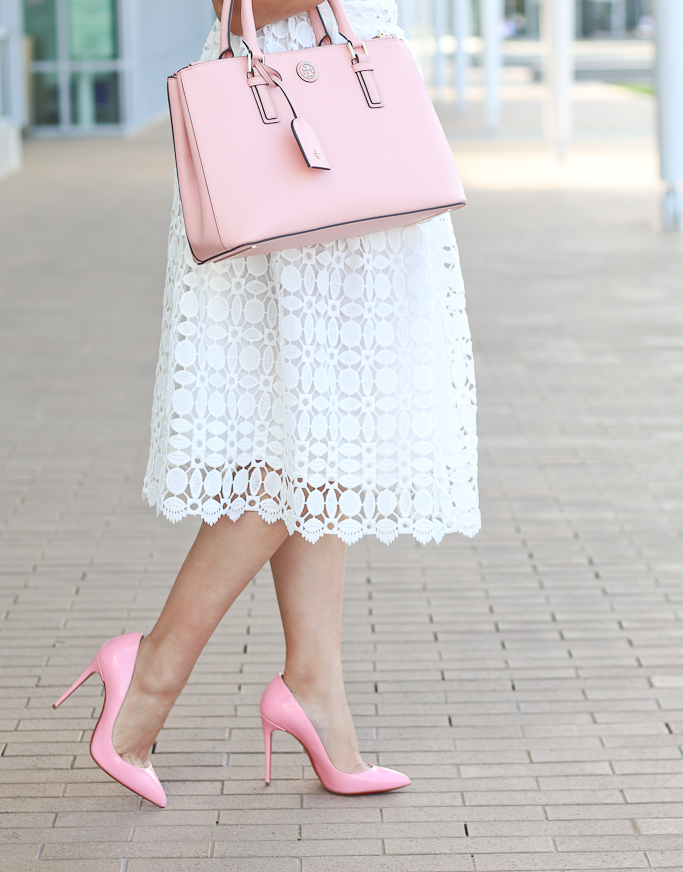Chicwish Splendid Crochet White Dress, Christian Louboutin Pigalle Follies pumps, Tory Burch mini Robinsin tote in rose pink