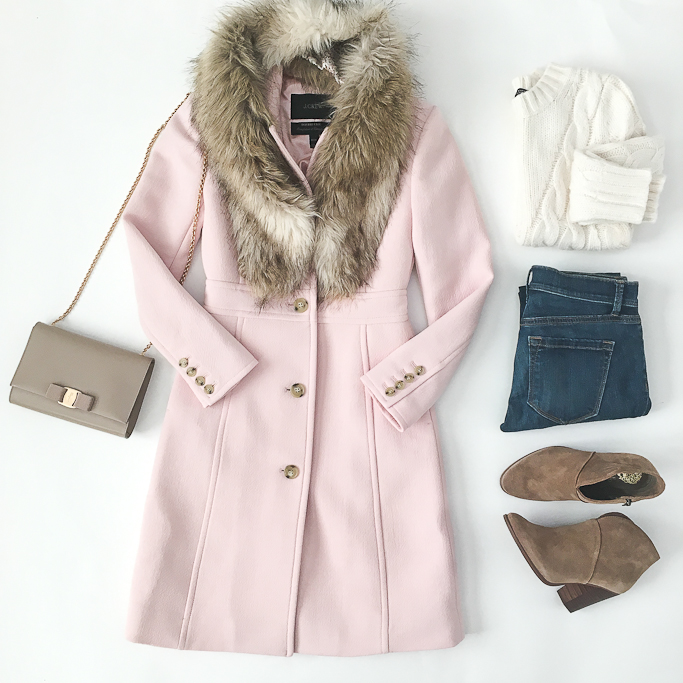 j-crew-lady-day-coat-in-subtle-pink-j-crew-000-petite-sizing-ann-taylor-cable-knit-sweater-loft-petite-jeans-ferragamo-miss-vara-bow-mini-bag-vince-camuto-franell-ankle-booties-faur-fur-stole