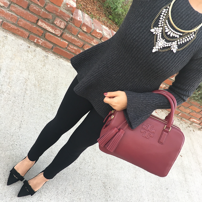 Ann Taylor bell sleeve peplum sweater, ponte ankle pants, bow pumps, burgundy bag