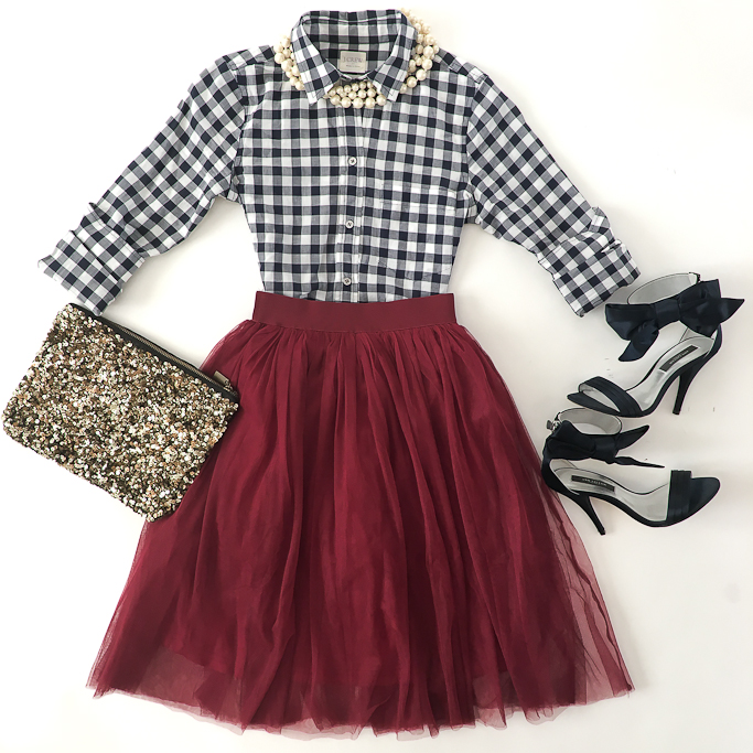 burgundy-tulle-skirt-petite-gingham-shirt-zara-sequin-clutch-ann-taylor-navy-bow-sandals-faux-pearl-necklace_
