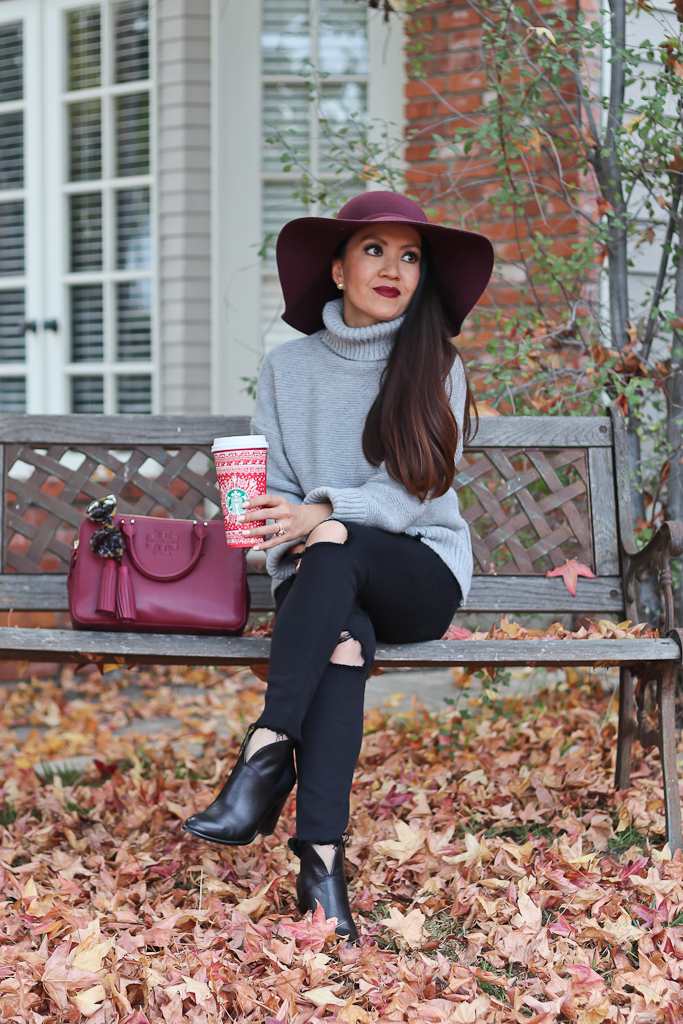 chunky gray sweater black distressed jeans ankle booties burgundy floppy hat casual fall outfit
