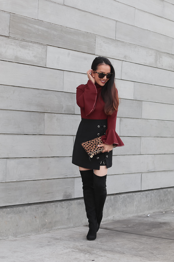 chicwish-cheer-flare-sleeves-top-in-wine-stylish-tie-bud-skirt-in-black-steve-madden-gleemer-thigh-high-over-the-knee-boots-clare-v-leopard-foldover-clutch-4