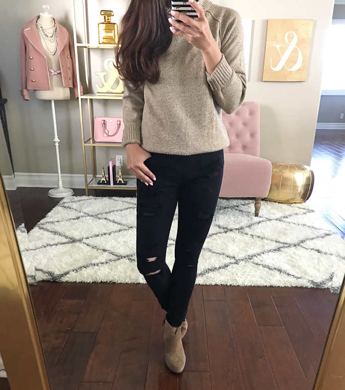 express-distressed-black-jeans-and-tan-sweater