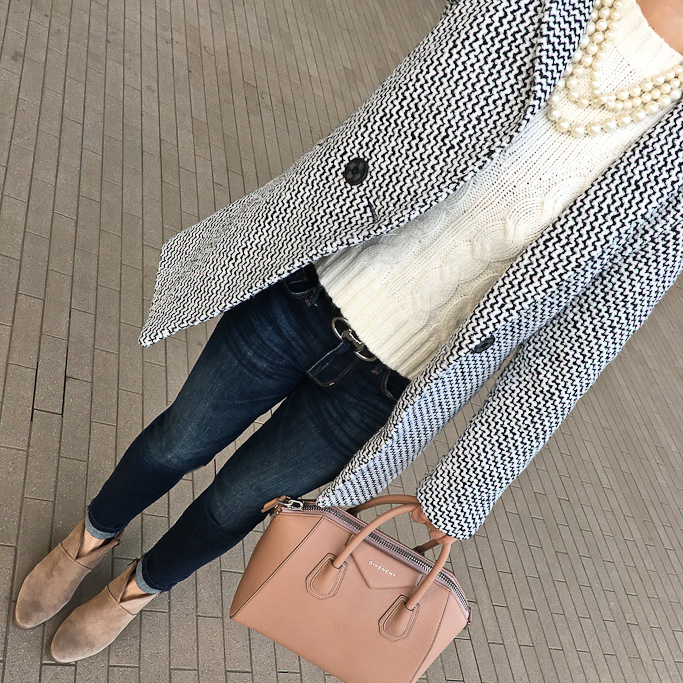 tweed coat cable knit sweater givenchy bag skinny jeans