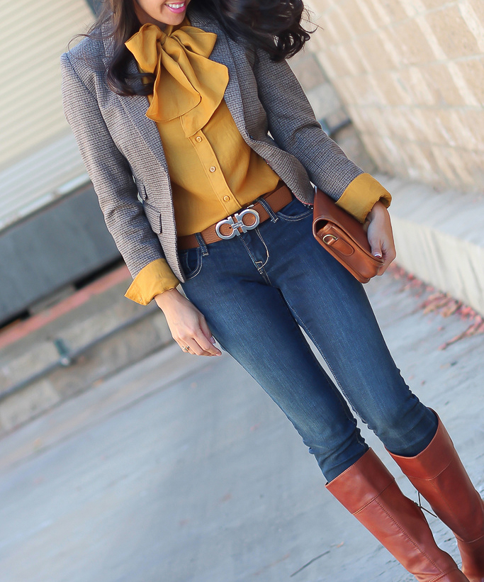 Ferragamo gancini reversible belt, Gap mustard bow blouse, H&M elbow patch houndstooth blazer, Halogen Brianna Cognac boots, Old Navy petite rockstar jeans