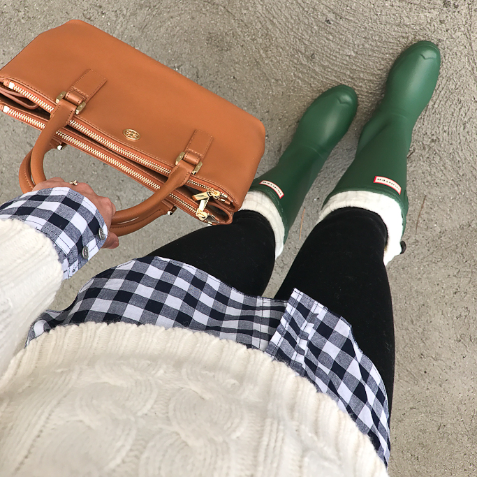 boot socks, Cable knit sweater, gingham shirt, Green Hunter Boots