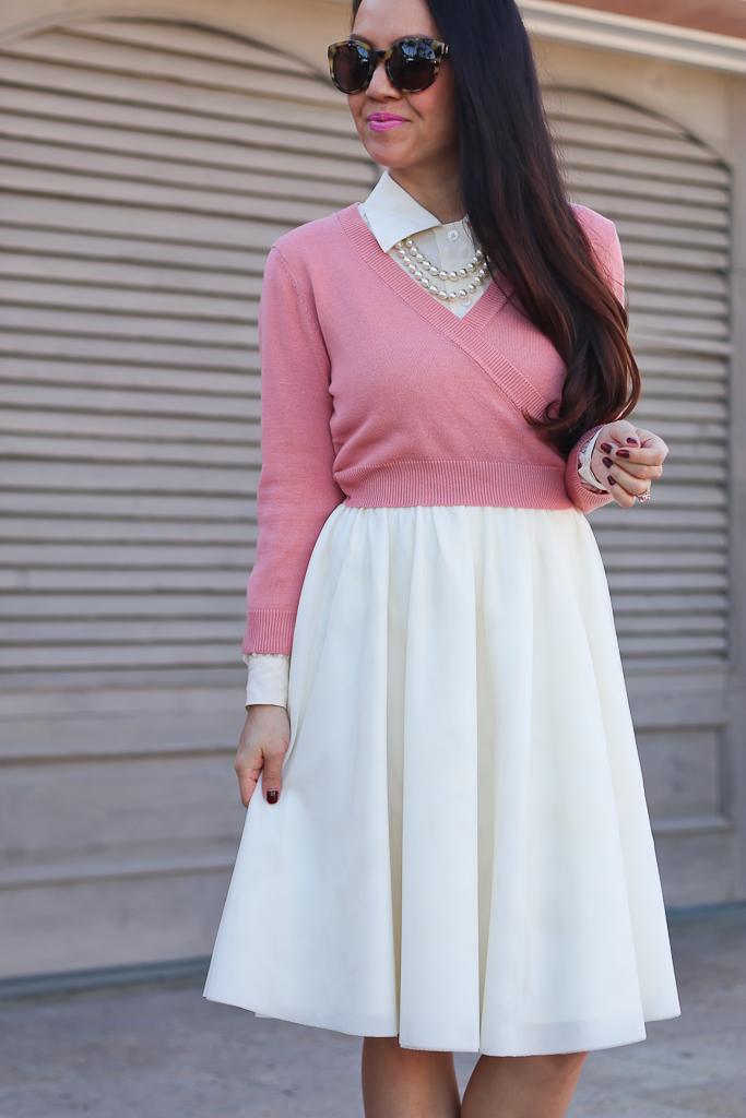 Modcloth it's a wrap cardigan in blush, Modcloth Tulle of the Trade A-Line Skirt in Cream