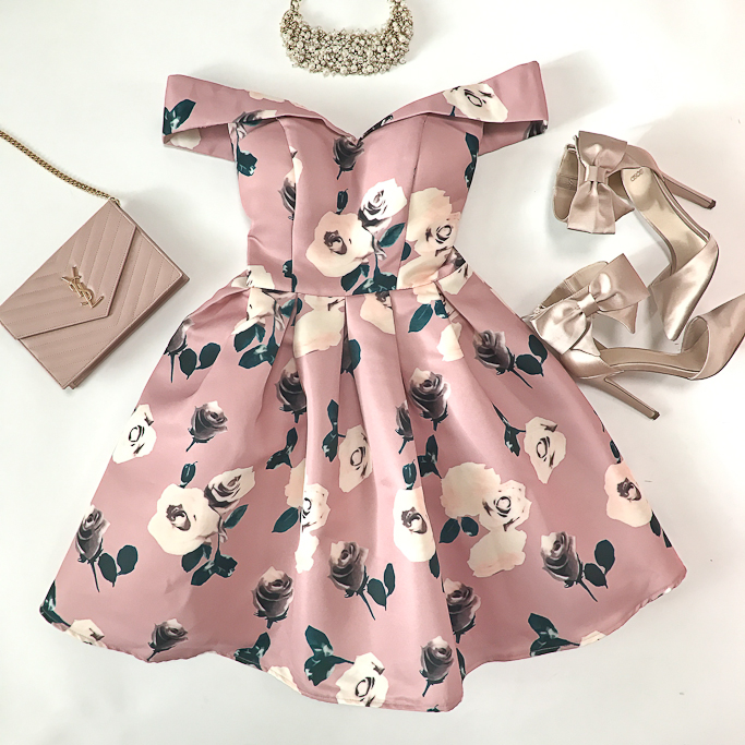 Asos CHI CHI PETITE ALL OVER FLORAL PRINTED BARDOT PROM DRESS, blush bow heels, YSL saint laurent blush wallet on chain clutch