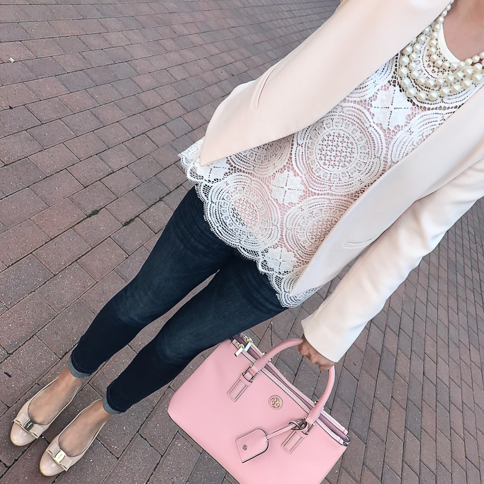 Ferragamo Vara pumps, Loft medallion lace top, Topshop petite molly blush pink blazer, Tory Burch mini Robinsin tote in rose pink