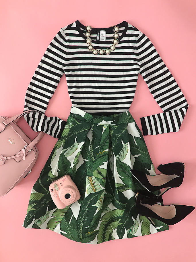 Fujifilm Instax Mini 8 Camera pink, Palm print custom skirt, striped sweater