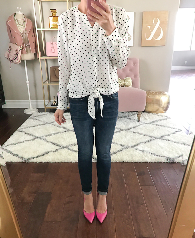 Banana Republic ankle jeans, Kate Spade lottie pink pumps, Talbots dot tie front blouse