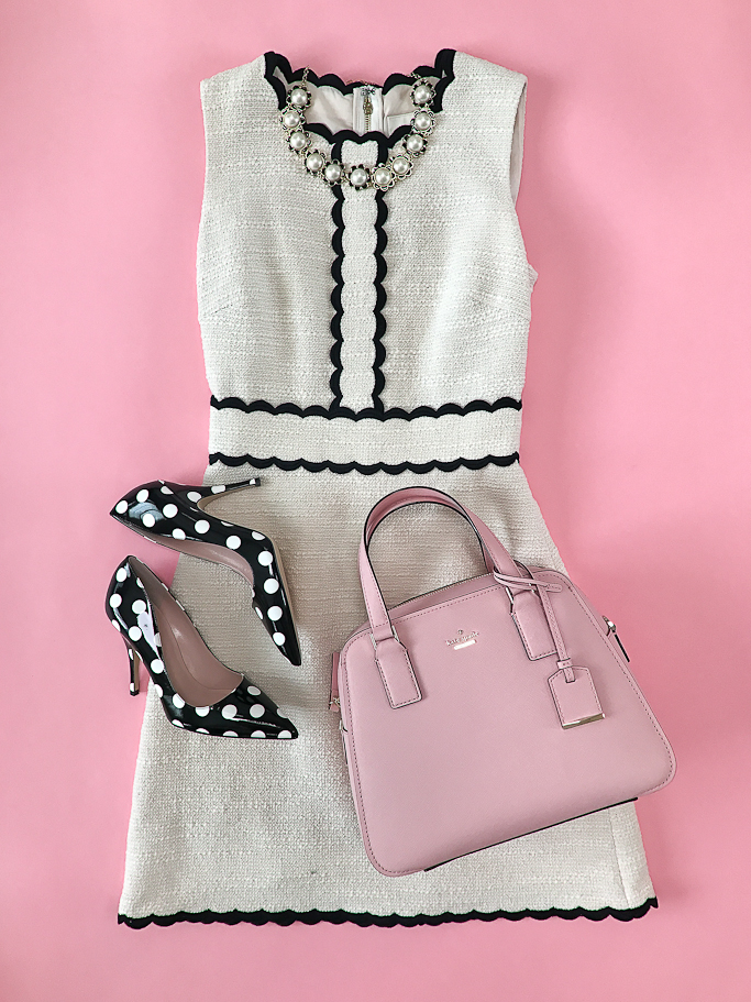 scalloped tweed dress polka dot pumps pink purse