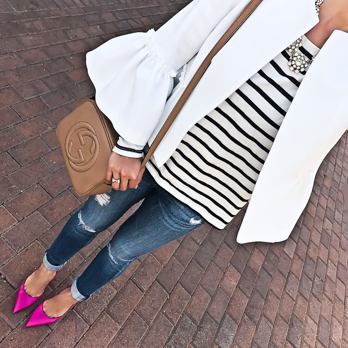 AG distressed super skinny jeans, Gucci soho disco leather bag, Kate Spade lottie pink pumps, striped shirt, Topshop ruffle crop jacket