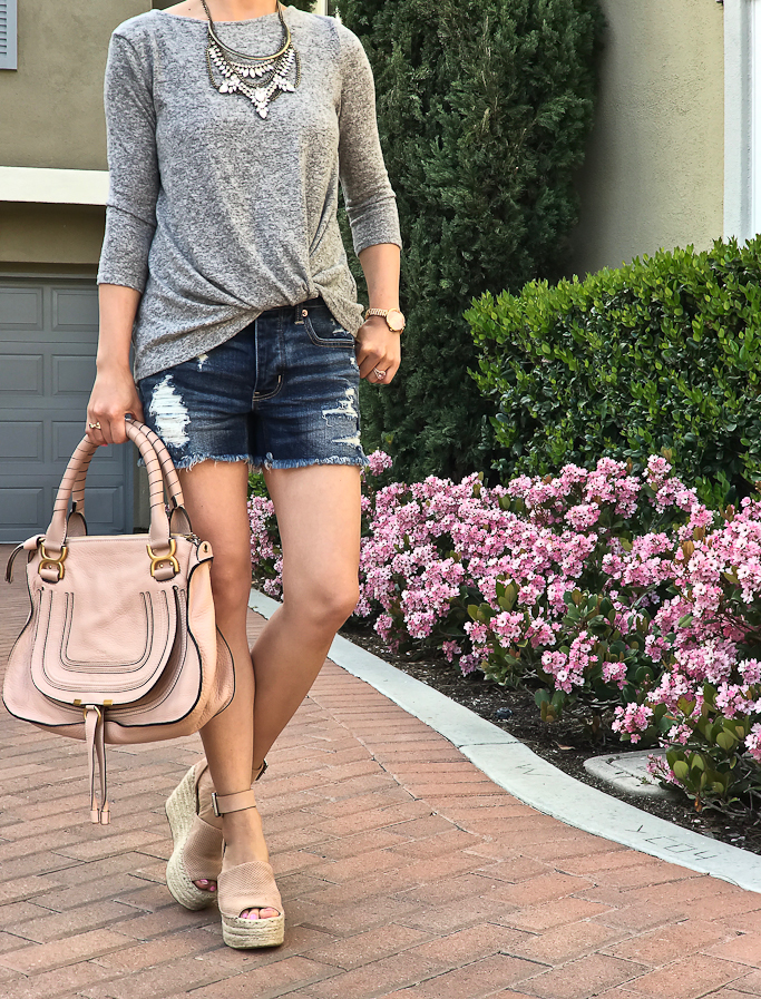 gray twist front sweater distressed denim shorts blush platform wedge sandals