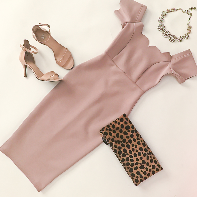 Asos blush scalloped off the shoulder dress, BP luminate sandals, Clare V leopard foldover clutch
