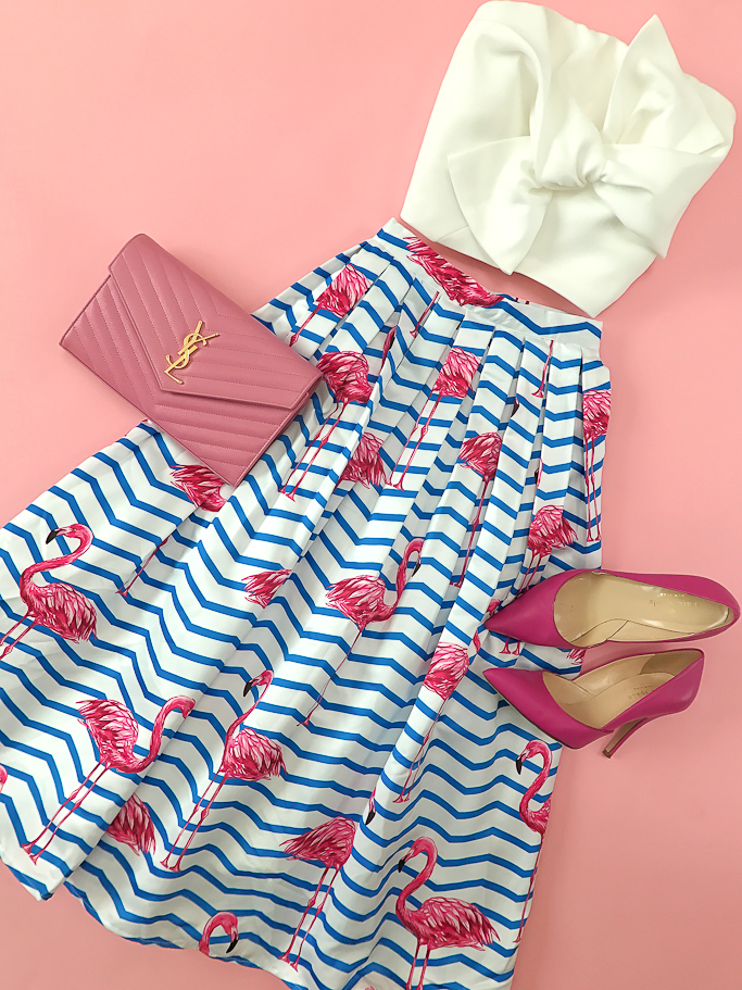 Chicwish FLAMBOYANTLY FLAMINGO PRINTED MIDI SKIRT, Kate Spade lottie pink pumps, YSL saint laurent wallet on chain clutch