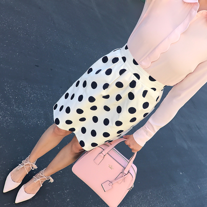 Halogen blush lace up flats, J.Crew polka dot skirt, Maison Jules scalloped blouse