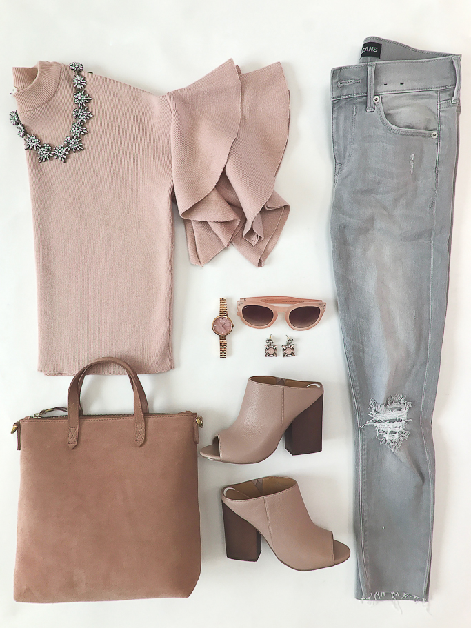 River Island Petite pink knit double frill sleeve top, Express distressed gray jeans, Madewell Mini Transport Suede Crossbody Bag, Linea Paolo Gabby Block Heel Mule