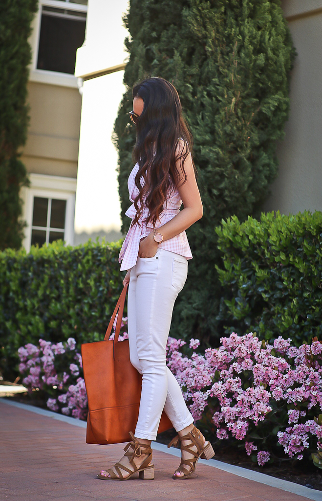Dawson tote gingham peplum top, Paige denim verdugo white cropped jeans, Sole Society Pasha sandals
