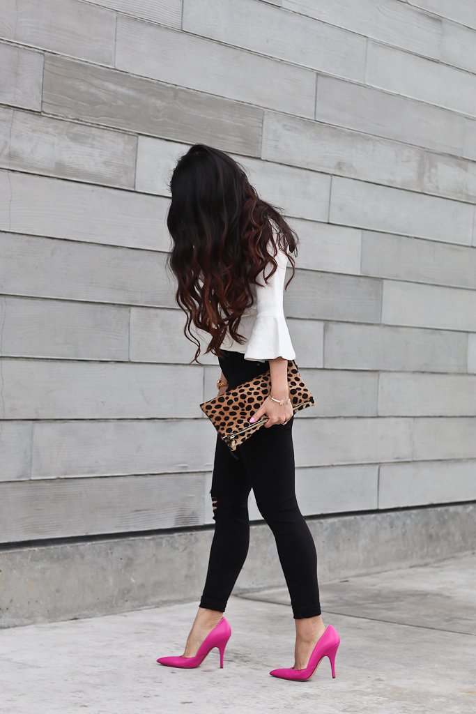 Clare V leopard foldover clutch, Kate Spade lottie pink pumps, Topshop petite ripped high waist black jeans, Topshop scallop neck fluted sweater