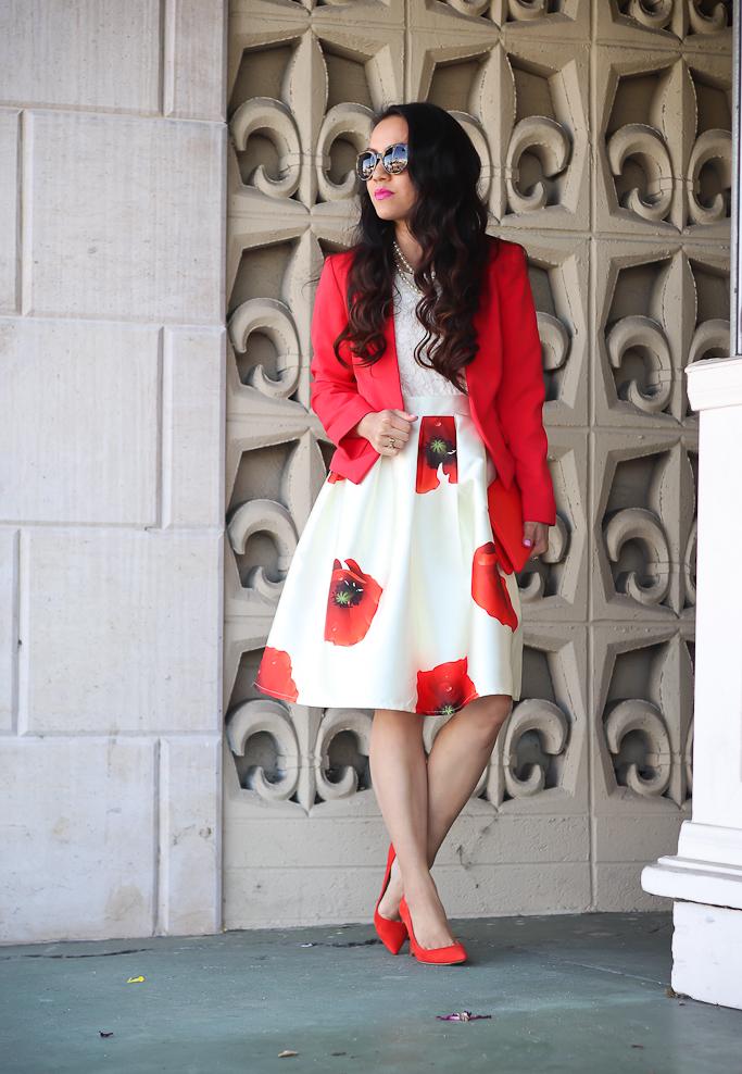 Dreaming of Hana A-line Skirt, H&M collarless red blazer, J.Crew red pumps