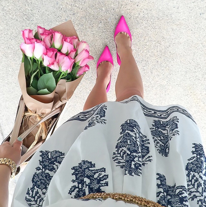 Kate Spade lottie pumps, chicwish floral dress
