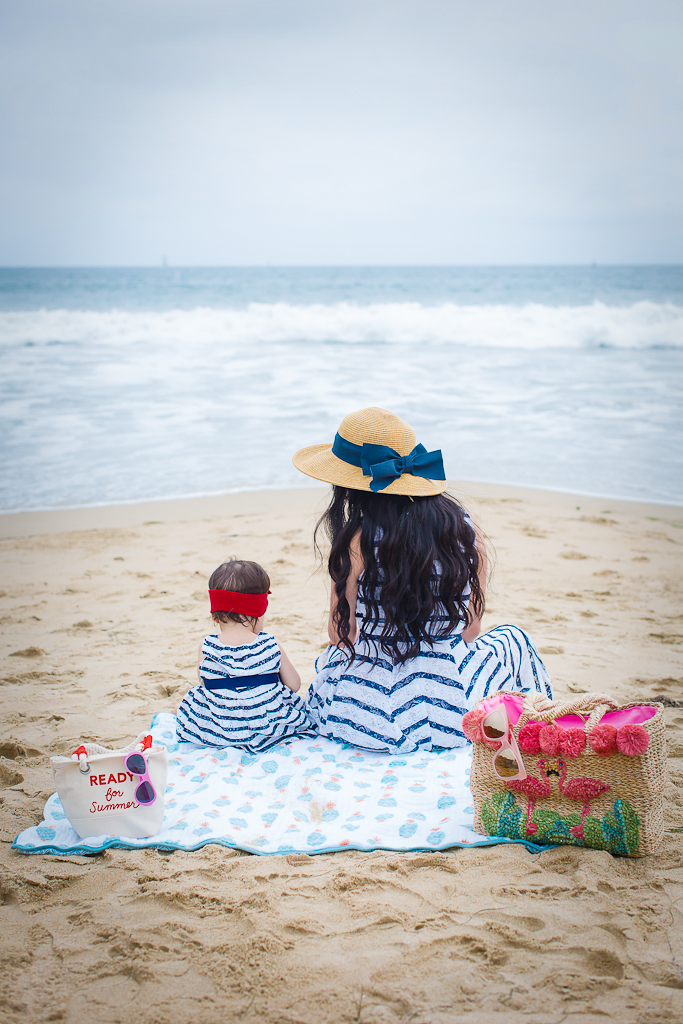 mommy and me matching striped dresses summer outfit idea