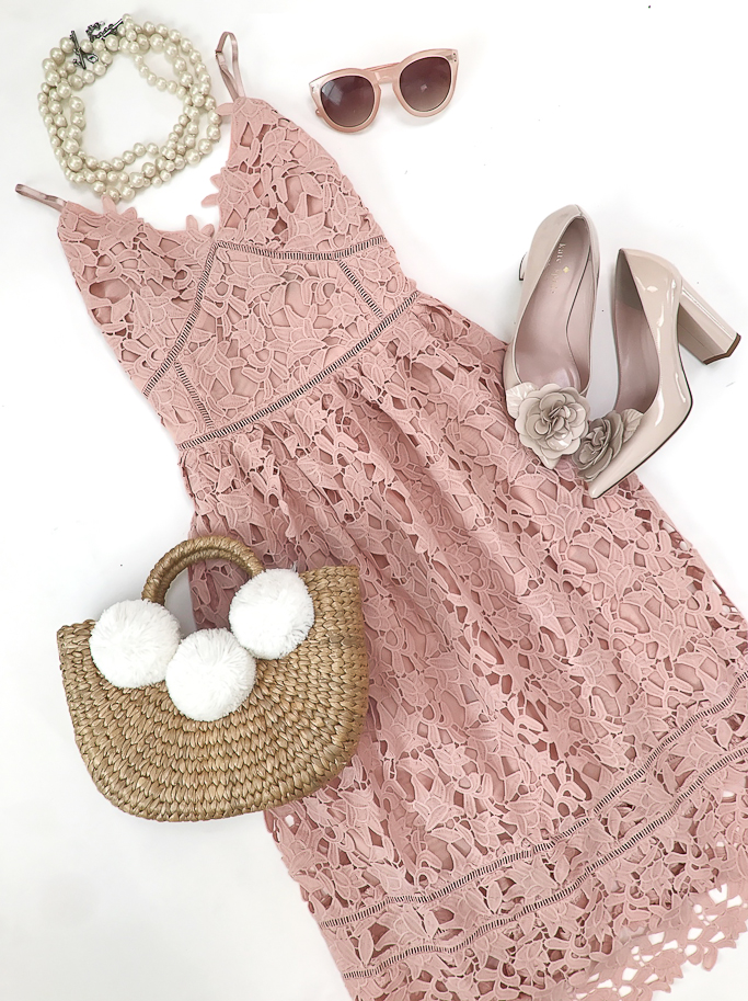 Pink hollow crochet lace dress, JADEtribe pom pom tote