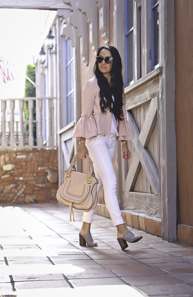 pink ruffle crop jacket white jeans summer outfit