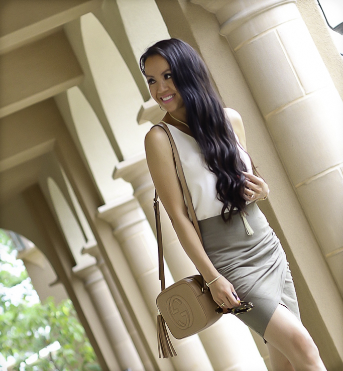 casual summer outfit olive green skirt white camisole