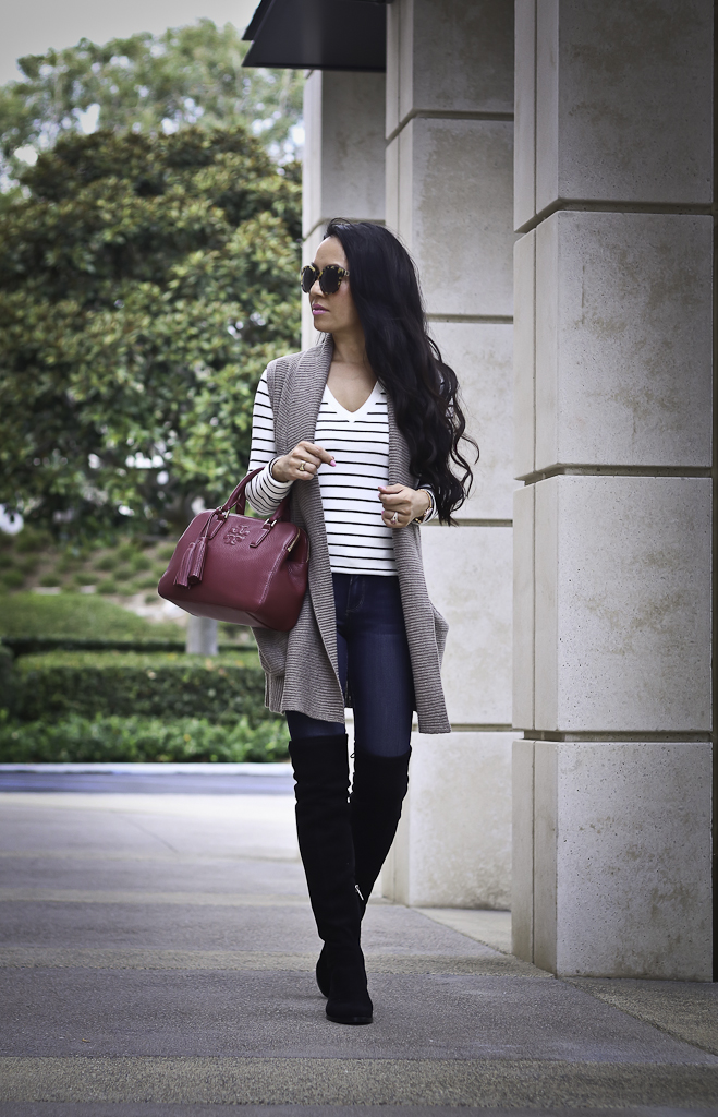 fall outfit sweater vest over the knee boots striped sweater