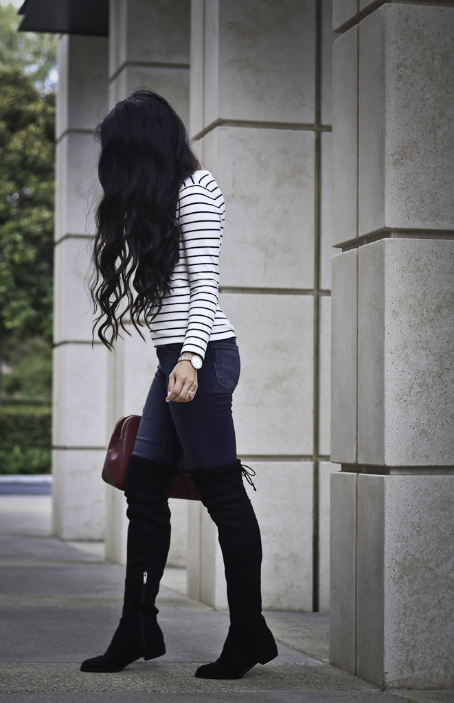 fall outfit over the knee boots striped sweater