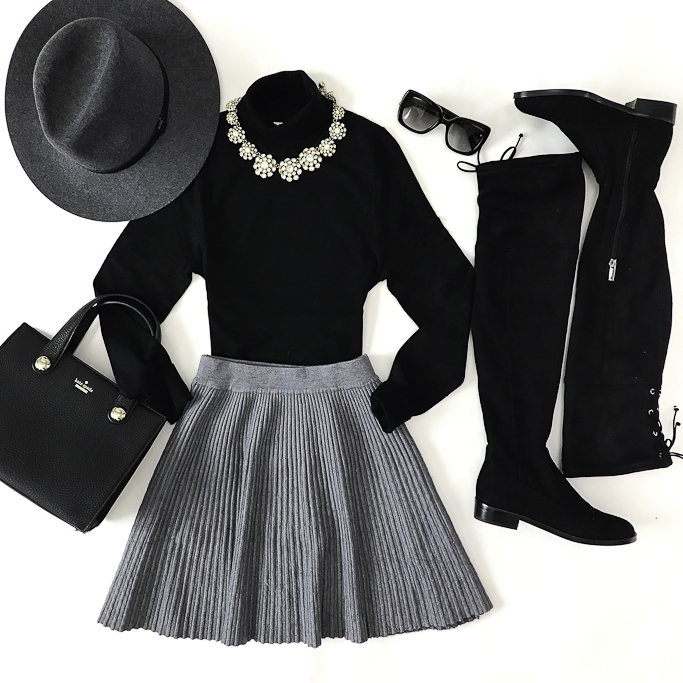 gray and black outfit flat over the knee boots black turtleneck fall outfit
