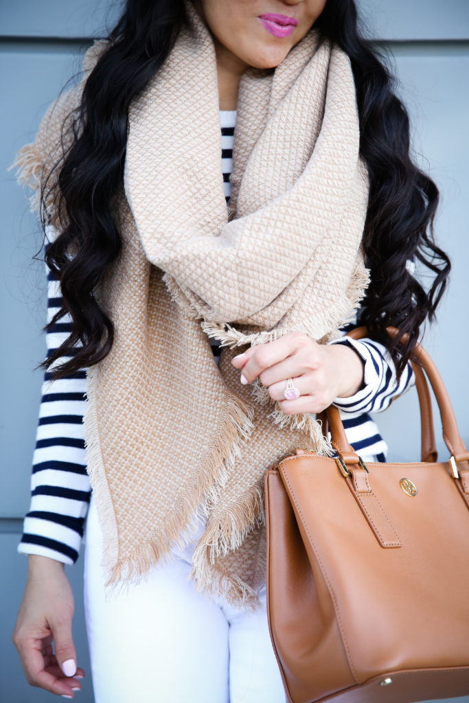 winter white casual outfit striped sweater neutral over the knee boots camel scarf