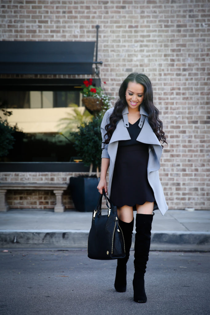 black over the knee boots gray trench coat scalloped skirt winter fall outfit