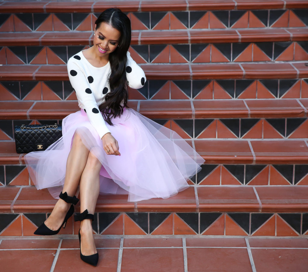 pink tulle skirt polka dot sweater bow pumps valentines day outfit