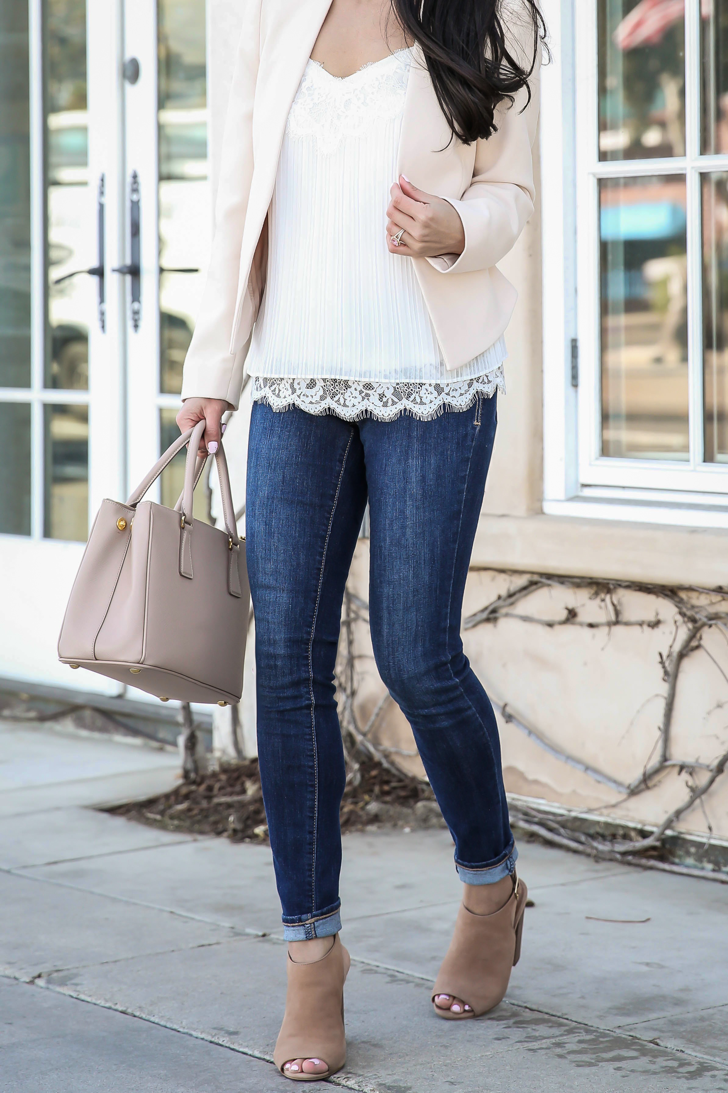 pleated lace cami blush pink collarless blazer spring casual outfit