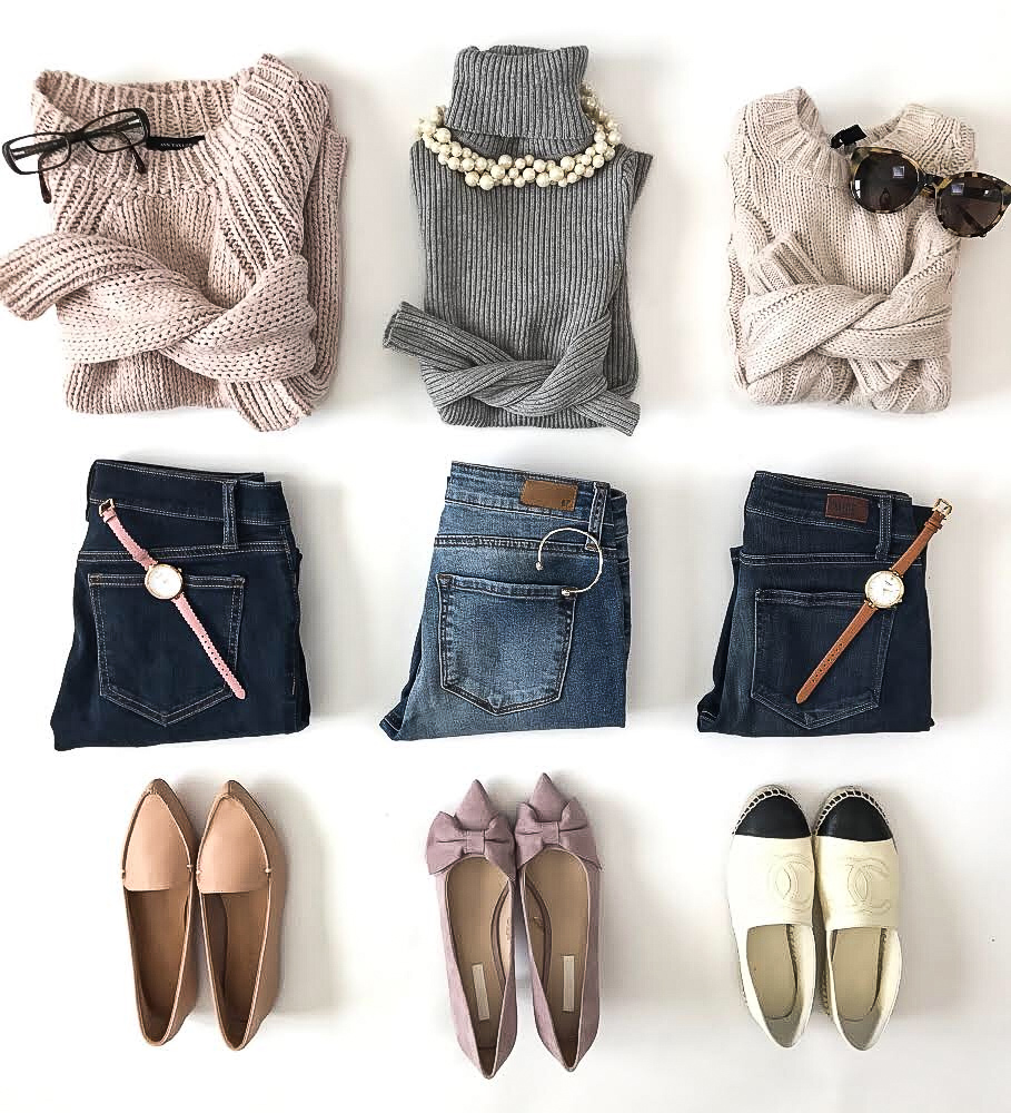 chunky knit sweaters chanel espadrilles bow pumps casual spring outfit ideas