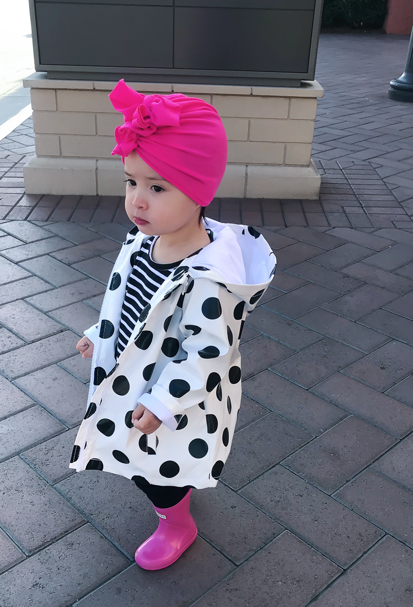 toddler girl polka dot rain coat pink hunter boots turban baby